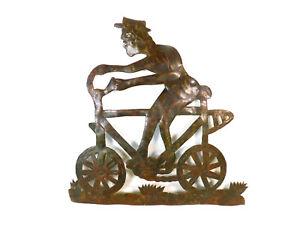 Julio Balan Oil Drum Barrel Haitian Art Man On Bicycle