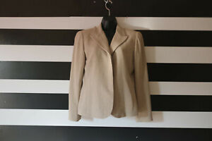 Ellen Tracy Linda Allard Blazer Beige Jacket, Sport Coat Linen Blend Sz P12
