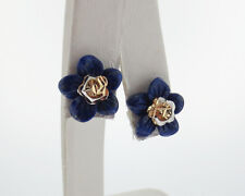 Solid 14k Two-Tone Gold Flower Stud Earrings with Blue Lapis Lazuli Enhancers