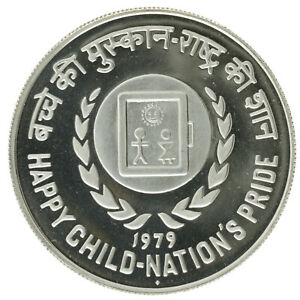 India - Silver 50 Rupees Coin - 'International Year of the Child' - 1979 - Proof