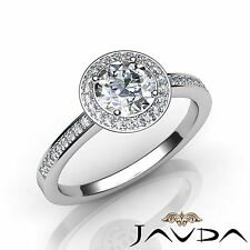 2ct Round Halo Diamond Engagement GIA F VVS2 14k White Gold Antique Style Ring