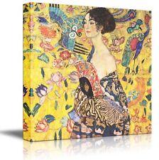 "Wall26 - ""Woman with fan"" by Gustav Klimt - Golden Phase - Canvas Art - 36x36"