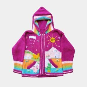 Vintage Kid's Handknit Children's Farm Sweater Pink 3T Girl's