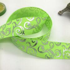 5yards 1''25mm print hot silver Satin Bow Ribbon Hair Sewing Fluorescent gree