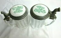 Burley & Co. Chicago Glass Made In Germany Beer Steins Porcelain Pewter Lids