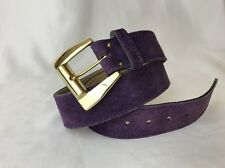 Vtg Purple Suede Leather Western Belt Gold Buckle Women's Medium Large 32 34 80s