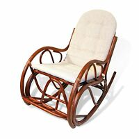 Traditional Handmade Rattan Wicker ROCKING CHAIR With Cushion LOCAL PICKUP