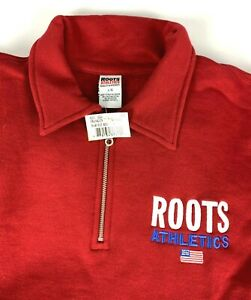 NWT Roots Athletics Franklin Flag 1/4 Zip Polo Sweatshirt sz L Red
