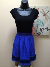 eight sixty sexy! dress Black cap sleeve w attached blue skirt Women's Sz M silk