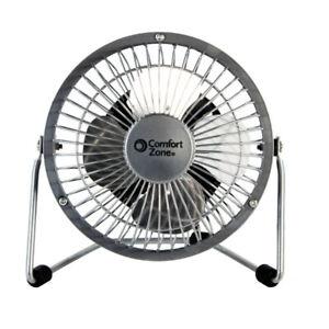 "Comfort Zone CZHV4S Quiet 4"" High-Velocity Portable Fan in Silver"
