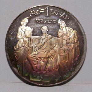 1969 Tunisia 1 Dinar Sterling Silver Coin ,Vergil , KM295 , Toned Gem Proof
