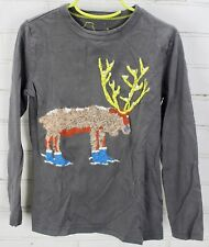 Mini Boden T-Shirt  Long Sleeve Tee Shirt Boys 5-6Y 100% Cotton Gray Winter Moos