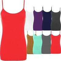 Ladies Plain Strappy Bodycon Cami Vest Tank Top Sleeveless Camisole Mini Dress