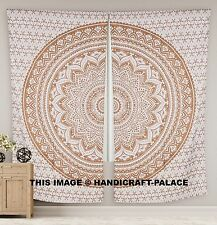 Indian Ombre Gold Window Treatments - 2 Unique Mandala Print Curtain Panels 82""