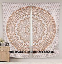 """Ombre Gold Cotton Window Treatments - 2 Unique Indian Print Curtain Panels 82"""""""