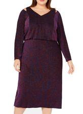 Calvin Klein Womens Blouson Dress Purple Size 20W Plus Metallic Cutout $199 388