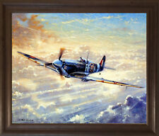 Spitfire Painting Military Airplane Aviation Wall Art Brown Rust Framed Picture