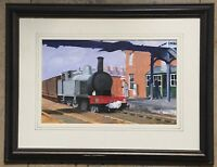 Original Irish Art Steam Train Railway Watercolour Painting Bloomfield Station