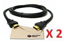 (Pack of 2) 2 METRE Premium GOLD 1080P HDMI CABLE LEAD SMART HD TV HDTV 3D 1.5m