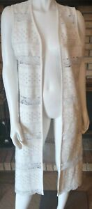 Dolce Cabo White Embroidered Eyelet Faux Leather Open Duster Vest S/M