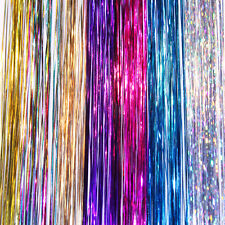 "4NEW 40"" Hair Tinsel 230 Strands Seven HOT Colors -PARTY-WEDDING-PROM- US Seller"