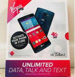 BRAND NEW Virgin Mobile LG Tribute 2 8GB Smartphone - Blue