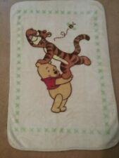 "New ListingWinnie the Pooh Tigger Bee Plush Baby Blanket Crib Toddler Bed 30x46"" Cream Gree"