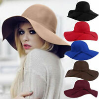 Women Vintage Wide Brim Floppy Warm Wool-effect Hat Trilby Bowler Beach Sun Cap