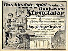 Structator- Metall- Baukasten Das idealste Spiel Historische Annonce von 1913