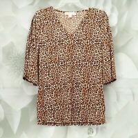Michael Kors Womens Animal Print Designer Blouse Top Size S 3/4 Sleeve Brown/Tan