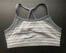 Zella Girl Performance Sports Bra Size Medium 8/10 Gray Stripes Euc