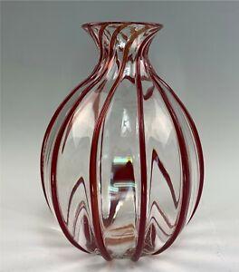 Lg. Signed Archimede Seguso Murano Italian Art Glass Hand Blown Vase Red Ribs