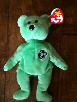 TY Beanie Babies Kicks Green Soccer Bear 1999 Plush Animal w/ Tags