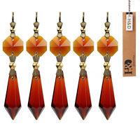 10 PCS Amber Crystal Glass Chandelier Lamp Lighting Prisms Drop Hanging Pendants