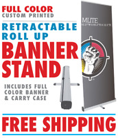 Retractable Banner Stand with Full Color Custom Banner - FREE SHIPPING