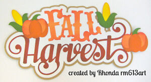 Fall Harvest paper piecing title premade scrapbook pages  album card  by Rhonda