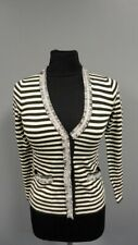 J. Crew Black White Wool Striped Button Down Cardigan Sweater Sz XXS Gg3978