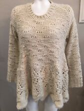 Max Edition Cream Wide Knit Fisherman's Baby Doll Scalloped Sweater Womens Sz LG