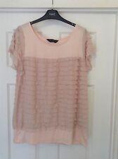 pink ruffled top,short sleeves,dorothy perkins uk 16/18