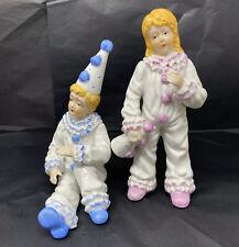 Pink & Blue Clown Boy & Girl Figurine by Milano  Korea Mann Porcelain Sculpture