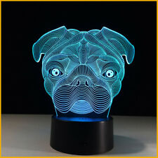 Kids Toy Gift 3D Illusion Cute Pug Dog LED Night Light Table Desk Lamp Animal