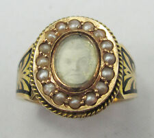 Antique Victorian 15ct Gold Mourning Photo Locket Seed Black Enamel Pearl Ring
