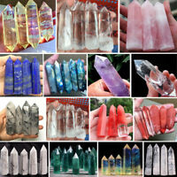 Natural Quartz Crystal Stones Aura Lemurian Point Specimen Healing Pendant
