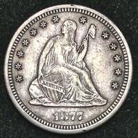 1877-CC Seated Quarter XF/AU