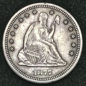 1877-CC Seated Quarter XF/AU