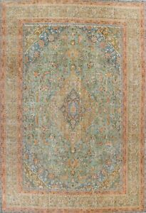 Antique Overdyed Floral Traditional Area Rug Evenly Low Pile Hand-knotted 9x12