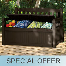 Keter Eden Outdoor Seating Storage Box 70 Gal Patio Deck Bench Waterproof Brown