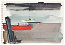 Unknown Unidentified European Seascape with boats 79/French Modernism Watercolor