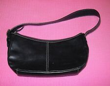 Ann Taylor Black Leather Purse Small Shoulder Bag White Stitching Plain Handbag
