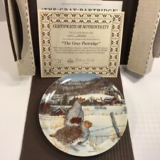Gray Partridge Plate Edwin Knowles 1987 No 8352A Wayne Anderson Original Box
